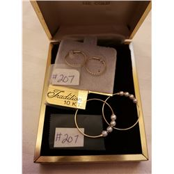 207.  10 KT gold hoops with pearls, and 10 KT gold hoops for a child