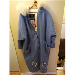 214.  Northern Sun blue wool coat, embroidered geese, fur trim, size 14