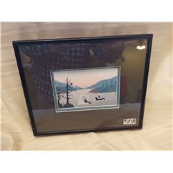 """218.  Framed water colour, """"Whales"""", by D. Noel, 1992"""