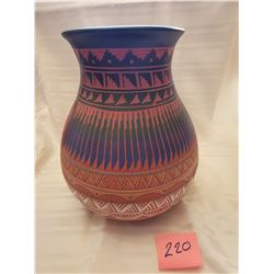 220.  Native American South Western pottery vase with feather pattern by Derrick Nauto