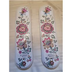 """222.  Floral porcelain door plaques purchased in Chartres, France in 2004,  10"""" X 2 ¾"""""""