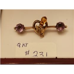 231.  9 KT gold broach with amethysts and citrine, hallmarked for Edinborough