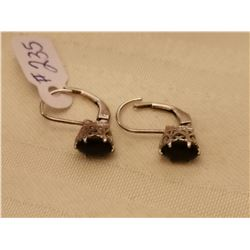 235. Sterling and sapphire pierced earrings