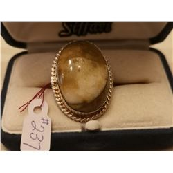 237.  Sterling silver ring with creamy brown stone, size 8