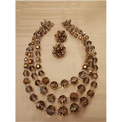 241.  A&B crystal bead necklace and clip earring parure