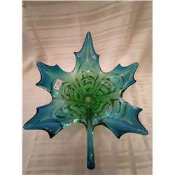 "248.  Glass maple leaf centerpiece, blue& green, engraved ""Chalet"", 13"" across"