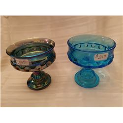 """249.  Blue and iridescent footed candy dishes, """"King's Crown"""" pattern"""