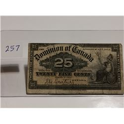 1900 Shinplaster 25¢ bill, Courtney signature