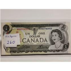 Three UNC $1 bills in sequence, 1973