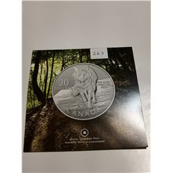 2013 Wolf $20 coin, .9999 silver