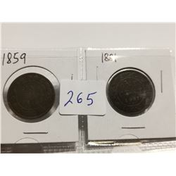 1859 and 1881H one cent coins, great condition