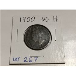 """1900 """"No H"""" one cent coin, fine"""