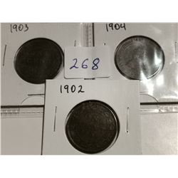 1902, 1903 & 1904 one cent coins