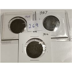 1907, 1909 & 1910 one cent coins