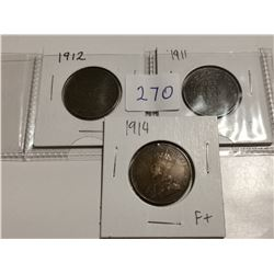 1911. 1912 & 1914 one cent coins