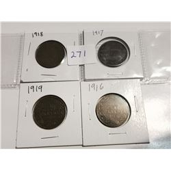 1916, 1917, 1918, 1919 one cent coins