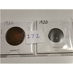 1920 large and small CDN one cent coins