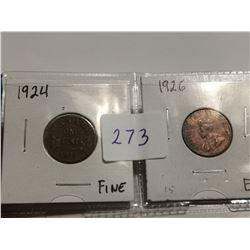 1924 F+ and 1926 EF 1¢ coins