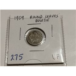 1909 round leaves bowtie 5¢ coin