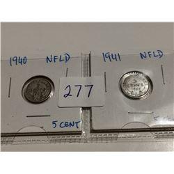 1940 & 1941 Newfoundland silver 5 cent coins