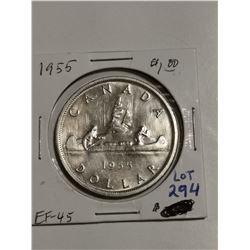 1955 Silver $1, EF 45