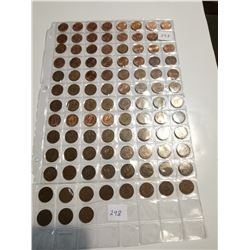 98 Different 1 cent coins, 1927-2012 with varieties missing one