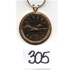 305 1988 GOLD PLATED LOON DOLLAR ON PLATED NECKLACE