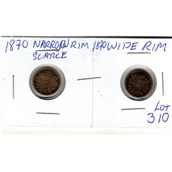 310 1870 FIVE CENTS: NARROW & WIDE RIM VARIETIES