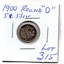 """315 1900 ROUND 0""""S FIVE CENT SILVER"""