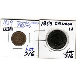 316 CANADA & USA 1859 ONE CENT COINS