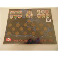 324 1937 TO 1952 GEORGE V1 ONE CENT SET IN DISPLAY CARD