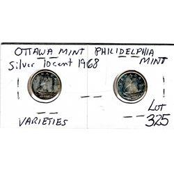 325 1968 OTTAWA & PHILIDELPHIA MINTSILVER CANADA 10 CENTS