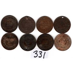 331 NINE OLD COPPER COIN LOT CANADA & PROVINCES