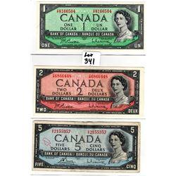 341 VINTAGE 1954 ISSUE $1, $2, $5 BILLS