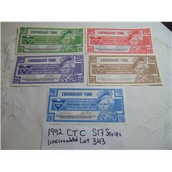 343 1992 UNCIRCULATED CANADIAN TIRE MONEY SET S17 SERIES