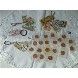 348 1965 PROOFLIKE ONE CENTS AND MONEY BILL KEYCHAINS