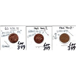 349 1962 ONE CENT VARIETIES: HARP, MISSING M, HANGING 2