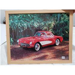 """1950's Corvette framed picture 21"""" X 17"""""""