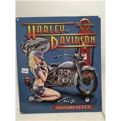 """Harley Davidson embossed 15"""" X 13"""" sign"""