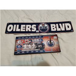 """Oilers tin sign 24"""" X 5"""" and Oilers clock 14"""" X 6"""""""