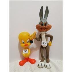 "1969 Tweetie Bird, 1971 Bugs bunny 10"" tall"