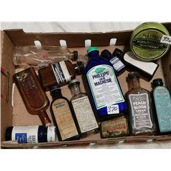 Lot of medicine bottles & tins