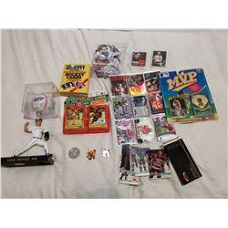 Sports lot, cards, ball, figurine etc