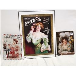 """Coca-Cola sign lot, 1 - 11""""X16"""", 2 - 6"""" X 8"""""""