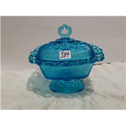 """Blue candy dish 7"""" X 7"""" with lid"""