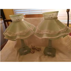 404.  Pair of green depression glass Boudoir lamps,