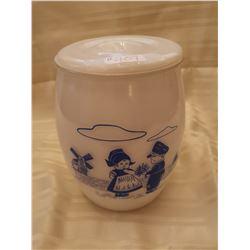 407.  Cookie jar, white with blue Dutch children