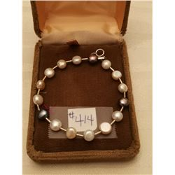 """414.  Coin pearl and sterling bracelet, 6"""""""
