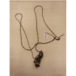 """416.  Sterling silver chain, 24"""" with handcrafted silver pendant"""