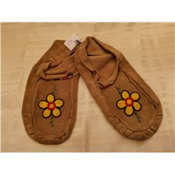 """421.  Leather slippers, with beading 10 ½"""" inches heel to toe"""